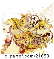 Clipart Picture Illustration Of A Happy Smiling Blond Woman Closing Her Eyes Her Hair Flying In The Breeze With Butterflies by OnFocusMedia