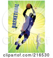 Royalty Free RF Clipart Illustration Of A Basketball Player Jumping On A Green Burst With Grungy Basketball Text by leonid