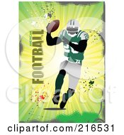 Royalty Free RF Clipart Illustration Of A Footballer Over A Green Burst With American Football Text