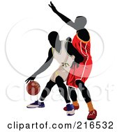Royalty Free RF Clipart Illustration Of Two Basketball Players In A Game 1