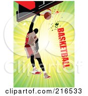 Royalty Free RF Clipart Illustration Of A Basketball Player Making A Slam Dunk On A Green Burst With Grungy Basketball Text