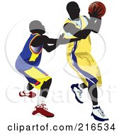 Royalty Free RF Clipart Illustration Of Two Basketball Players In A Game 2