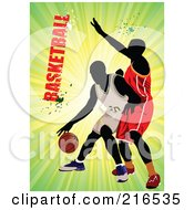 Royalty Free RF Clipart Illustration Of Two Basketball Players On A Green Burst With Grungy Basketball Text by leonid