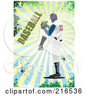 Royalty Free RF Clipart Illustration Of A Baseball Pitcher Over A Burst With Baseball Text by leonid