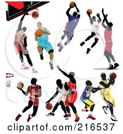 Royalty Free RF Clipart Illustration Of A Digital Collage Of Basketball Players In Different Poses