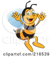 Royalty Free RF Clipart Illustration Of A Worker Bee Character Mascot Jumping