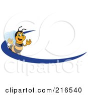 Royalty Free RF Clipart Illustration Of A Worker Bee Character Logo Mascot With A Blue Dash
