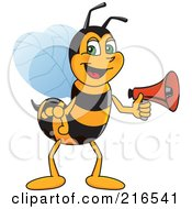 Royalty Free RF Clipart Illustration Of A Worker Bee Character Mascot Holding A Megaphone