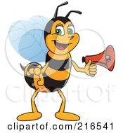 Worker Bee Character Mascot Holding A Megaphone