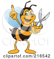Worker Bee Character Mascot Holding Scissors