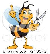 Worker Bee Character Mascot Holding Scissors
