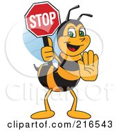 Worker Bee Character Mascot Holding A Stop Sign