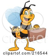 Worker Bee Character Mascot Carrying A Briefcase
