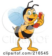 Worker Bee Character Mascot Holding A Phone