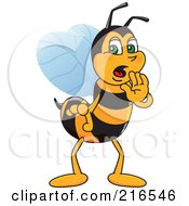 Royalty Free RF Clipart Illustration Of A Worker Bee Character Mascot Whispering