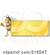Royalty Free RF Clipart Illustration Of A Worker Bee Character Logo Mascot With A Gold Plaque