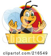Royalty Free RF Clipart Illustration Of A Worker Bee Character Logo Mascot Over A Blank Banner On A Red Oval