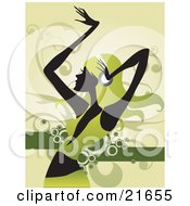 Clipart Picture Illustration Of A Dancing Woman In Silhouette Dressed In Green With Green Hair Wearing Headphones by OnFocusMedia