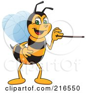 Royalty Free RF Clipart Illustration Of A Worker Bee Character Mascot Using A Pointer Stick