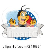 Worker Bee Character Logo Mascot On A Patriotic Star Circle
