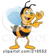 Worker Bee Character Mascot Waving And Pointing