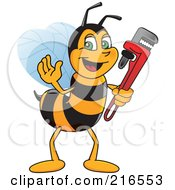 Worker Bee Character Mascot Holding A Monkey Wrench