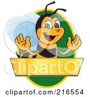 Royalty Free RF Clipart Illustration Of A Worker Bee Character Logo Mascot Over A Blank Banner On A Green Oval