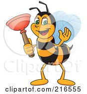 Royalty Free RF Clipart Illustration Of A Worker Bee Character Mascot Holding A Plunger by Toons4Biz