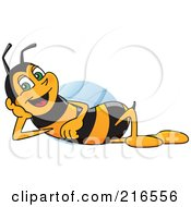 Royalty Free RF Clipart Illustration Of A Worker Bee Character Mascot Reclined by Toons4Biz
