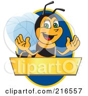 Royalty Free RF Clipart Illustration Of A Worker Bee Character Logo Mascot Over A Blank Banner On A Blue Oval by Toons4Biz