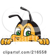 Worker Bee Character Mascot Looking Over A Blank Sign