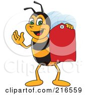 Worker Bee Character Mascot Holding A Price Tag
