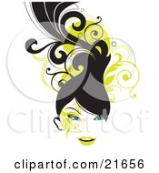 Clipart Picture Illustration Of A Blue Eyed Woman With Long Black Hair Smiling Over A Green Scroll And White Background