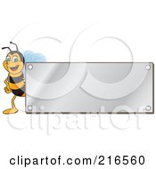 Royalty Free RF Clipart Illustration Of A Worker Bee Character Logo Mascot With A Silver Plaque by Toons4Biz