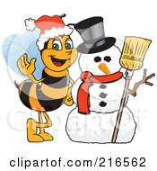 Royalty Free RF Clipart Illustration Of A Worker Bee Character Mascot By A Snowman by Toons4Biz