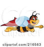 Royalty Free RF Clipart Illustration Of A Worker Bee Character Mascot Super Hero by Toons4Biz