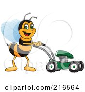 Worker Bee Character Mascot Using A Lawn Mower