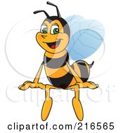 Royalty Free RF Clipart Illustration Of A Worker Bee Character Mascot Sitting On A Blank Sign by Toons4Biz