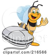 Royalty Free RF Clipart Illustration Of A Worker Bee Character Mascot By A Computer Mouse
