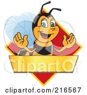 Royalty Free RF Clipart Illustration Of A Worker Bee Character Logo Mascot Over A Blank Banner On A Red Diamond by Toons4Biz