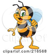 Royalty Free RF Clipart Illustration Of A Worker Bee Character Mascot Using A Magnifying Glass by Toons4Biz