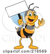 Royalty Free RF Clipart Illustration Of A Worker Bee Character Mascot Holding A Small Blank Sign by Toons4Biz