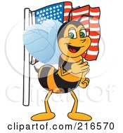Royalty Free RF Clipart Illustration Of A Worker Bee Character Mascot With An American Flag by Toons4Biz