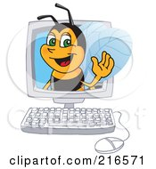 Royalty Free RF Clipart Illustration Of A Worker Bee Character Mascot In A Computer by Toons4Biz