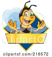 Worker Bee Character Logo Mascot Over A Blank Banner On A Blue Diamond
