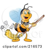 Royalty Free RF Clipart Illustration Of A Worker Bee Character Mascot Sweeping