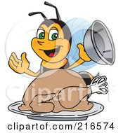 Royalty Free RF Clipart Illustration Of A Worker Bee Character Mascot Serving A Thanksgiving Turkey by Toons4Biz