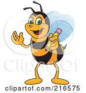 Worker Bee Character Mascot Holding A Pencil