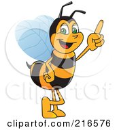 Worker Bee Character Mascot Pointing Upwards