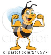 Royalty Free RF Clipart Illustration Of A Worker Bee Character Mascot Flexing by Toons4Biz